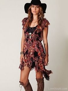 Cowgirl sexy fashion dress hipster hat boots cowgirl boho outfit trend