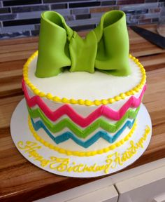 Chevron Birthday cake with big bow