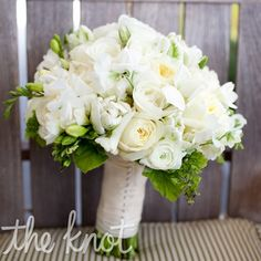 White Bridal Bouquet, not just a great bridal bouquet but a great spring bouquet as well.  Bright white flowers would look great in an entryway or on a kitchen table! flowers, arrangements, not just for brides