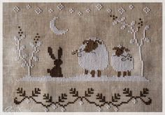 Schaapjes in sneeuw Christmas Embroidery, Tis The Season, Sheep, Stitches, Cross Stitch, Easter, Rugs, Made By Hands, Animales