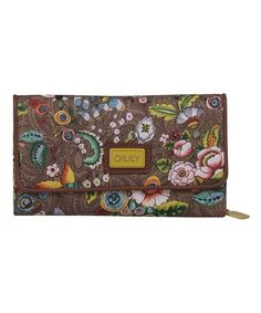 Loving this Tobacco French Flowers Large Wallet on #zulily! #zulilyfinds