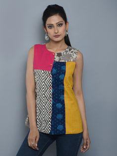 Multi Color Cotton Cambric Up Cycled Shirt Short Kurti Designs, Simple Kurti Designs, Stylish Dress Designs, Kurta Designs, Stylish Dresses, Blouse Designs, Fashion Dresses, Salwar Suit Neck Designs, Dress Over Pants