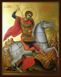 Άγιος Γεώργιος / St. George Saint George And The Dragon, Religious Paintings, Byzantine Icons, Orthodox Christianity, Archangel Michael, Orthodox Icons, Angel Art, Saints, Religion
