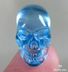 Sky Blue Topaz Crystal Skull Pendant