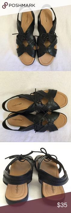 Comfortview Lace-Up Wedge Sandals! Very comfortable faux leather sandals perfect for dress or casual. They are in excellent condition, worn 1-3x and show little to no wear. Cushy soles and laces to ensure your perfect fit. Comfortview Shoes Sandals