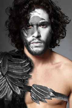 Want this in my house lol. Game of Thrones. Jon Snow Crow House Stark War Paint by HilaryHeffron