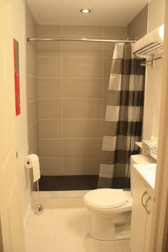 Walk in standing shower with shower curtain instead of - Bathroom ideas photo gallery small spaces ...