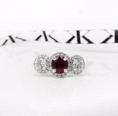 Trilogy halo ring #bykalfinjewellery #custommade #diamondhalorings #diamondrings #cbdjeweller #cityjeweller #jewellers #ruby #diamonds #diamondjewellery #customdesign #remodelling #collinsst #weddingring #gentsring #bestjeweller #bestdiamonds #solitaire #melbourne  www.kalfin.com.au
