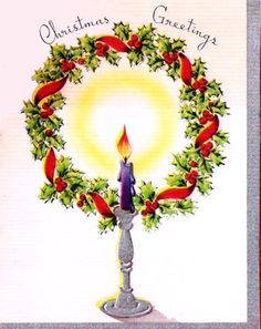 Vintage Christmas Card Candle and Wreath.