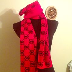 Red-hot, NWT, Mk logo scarf & hat combo bulk/red Absolutely stunning cherry red MK hat and scarf both with the small circle logo I am selling this only as a set! 100% Authentic! $88.00 ea. Both items are new with tag. Thisis not a boxed set. This set is a piece by piece matching set that I put together and purchased individually. It is absolutely superb. The scarf is a long scarf run on one side black on the other it's reversible the hat is the typical cuffed MK logo be any new release 2015…