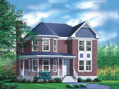 072H-0029: Victorian House Plan Fits a Narrow Lot