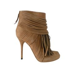 GUCCI shoe ACKERMAN ankle fringed boot peeptoe 6.5 NEW | From a collection of rare vintage shoes at http://www.1stdibs.com/fashion/accessories/shoes/