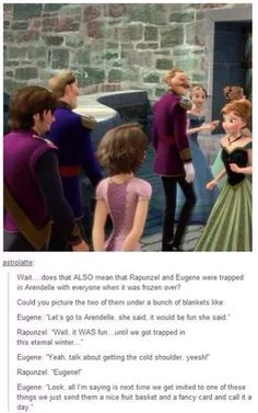 Flynn Rider and Rapunzel trapped in Arendalle for the deep freeze! Hahaha funny frozen / tangled meme!!! Hahaha!!! XD They should make a short about this!