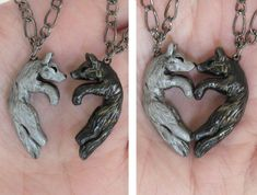 Wolf Love Necklace His and Hers Heart Kissing Couple Black and