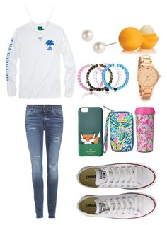 """""""Pink Lokai's!!!!!"""" by classically-kendall ❤ liked on Polyvore featuring 7 For All Mankind, Givenchy, Kendra Scott, Kate Spade, Lilly Pulitzer, Eos, Converse, women's clothing, women's fashion and women"""