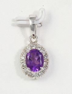 Estate 925 Sterling Silver Purple Amethyst Gemstone Necklace Pendant with Zircon #Handmade #Cluster