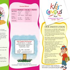 Best brochure design portfolio on Kids Campus International School. To view more, have a look at our website at http://www.brochure-design-india.com/