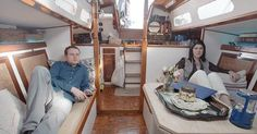 Victoria Fine and Jon Vidar, a NYC couple who ditched their apartment to live on a boat. Courtesy of Mel Magazine In Amsterdam, hundreds of houseboats line