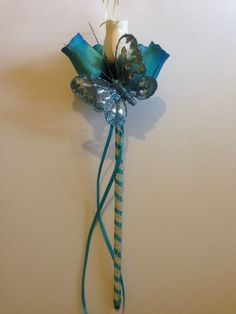 Turquoise Flower Girl Wand Butterfly, wedding, Bridesmaid, bride, princess