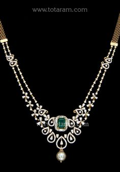 18 Karat Gold Diamond Necklace with South Sea Pearl & Color Stones This Product has Inter Changeable Stones in the Necklace Diamond Necklace Simple, Small Necklace, Diamond Jewelry, Gold Jewelry, Gold Models, Gold Earrings Designs, Layered Jewelry, Pearl Color, Feminism