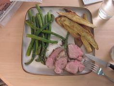 P90X Phase 1 Food  rosemary pork tenderloin w sweet potato fries