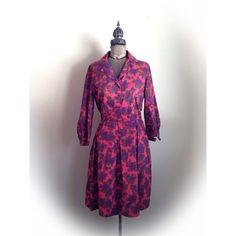 Vintage 1950s 1960s Dress Purple Roses by ArtDecoDame on Etsy