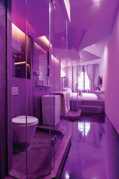 purple lighting makes this bathroom so amazing