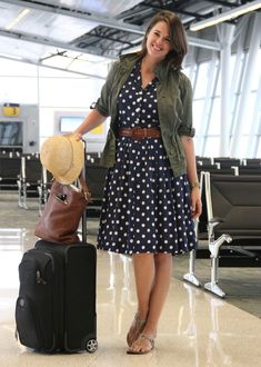 What I Wore, Jessica Quirk, What I Wore to the Airport, Polka Dot Dress, Army Jacket, Airport Outfit, How to pack for a trip
