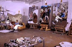 wow... look at those three giant easels.  i'm drooling.  Studio of artist Paula Rego.