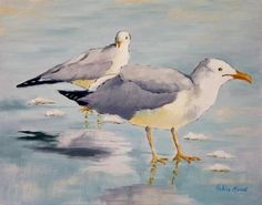 Robin Rowe seagulls painting 8 X10 $120