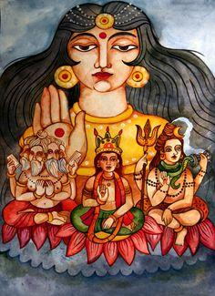 Vishnu, Brahma, Shiva and Shakti by Mila-sama on DeviantArt Hinduism History, Eternal Soul, Advaita Vedanta, Pop Art Girl, Lord Vishnu, Tantra, Gods And Goddesses, Shiva, Illustrators