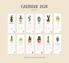 Latest Images 2020 calendar cactus Strategies The custom made wall calendars are built to supply your company ways to promote your company even th Printable Calendar Pages, Cute Calendar, 2021 Calendar, Calendar Ideas, Agenda Printable, To Do Planner, Budget Planner, College Planner, College Tips