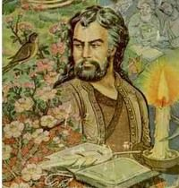 حافظ Khwāja Šams ud-Dīn Muhammad Hāfez-e Šīrāzī, or simply Hāfez (Persian: خواجه شمس‌الدین محمد حافظ شیرازی), was a Persian mystic and poet. He was born sometime between the years 1310 and 1337.  one of the three greatest poets of the world. His lyrical poems, known as ghazals, are noted for their beauty and bring to fruition the love, mysticism, and early Sufi themes