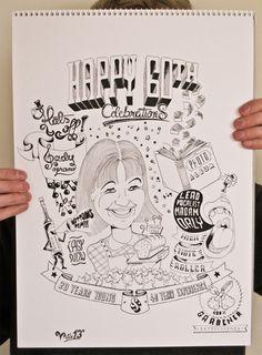 Birthday illustration by VKorpela on DeviantArt 60th Birthday, Party Planning, Doodles, Deviantart, Illustration, Artist, Artists, Illustrations, Donut Tower