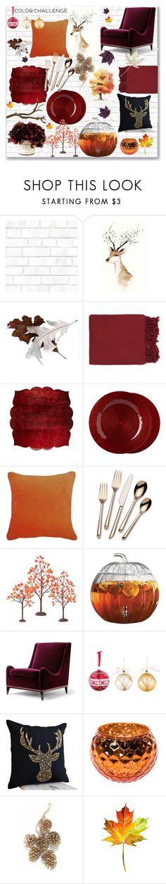 """Pumpkin + Burgundy Home Decor"" by ruthllless ❤ liked on Polyvore featuring interior, interiors, interior design, home, home decor, interior decorating, Tempaper, Surya, Kim Seybert and Fitz & Floyd"