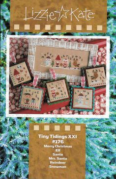 Lizzie Kate Tiny Tidings XXI #176 Christmas Counted Cross Stitch Pattern Chart and Embellishment Pack #E176  Six cute little Christmas designs. Chart includes embellishment pack: tiny red buttons, Wreath charm, Cookie button, burgundy triangle button and a snowflake button. Stitch count: Merry Christmas 106W x 37H, Elf 34W x 35H, Santa 34W x 34H, Mrs. Santa 34W x 35H, Reindeer 34W x 34H, and Snowman 34W x 34H. Models stitched 2 over 2 on 28/32 count Light Mocha Belfast Linen (not included)…