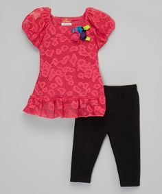 Another great find on #zulily! Pink Lace Top & Leggings - Toddler & Girls #zulilyfinds