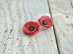 Red Poppy Earrings Poppy Jewelry Dangle by JewelryByCompliment