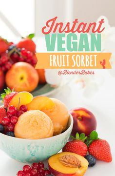 Instant Vegan Fruit Sorbets from @Vitamix via @BlenderBabes | What I love about this recipe is that any fruit can be substituted to make this easy sorbet! Whether in season or not, you can use frozen fruit to make this frozen sweet treat in seconds!
