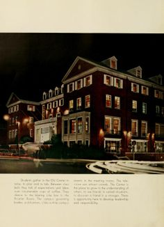 Athena Yearbook, 1959. Old Baker Center photographed at night while cars and people quickly pass by. :: Ohio University Archives