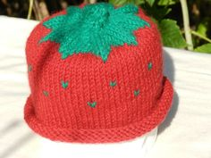 Strawberry Hat for Infant or Small Child by funnstuffpdx67 on Etsy, $15.00