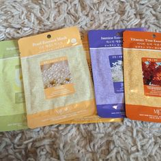 Korean Sheet Masks HOTTEST SKINCARE ITEM RIGHT NOW. Jasmine Essence - Antibacterial, clarifies and protects, soothing and calming. Vitamin Tree - detoxifying, brightening. Royal Jelly - anti-aging and healing. Has anti-inflammatory properties. Brightening Essence - helps with dark spots, acne scars. Pearl Essence - helps even skin tone due to hyper pigmentation. $6each, of Can bundle these for cheaper. Korean Sheet Masks. Wash face and place this on until it dries, then apply moisturizer…