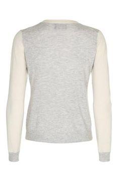Heino meget let classic cashmere cardigan - Hvid & Lysegrå melange