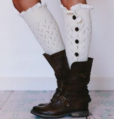 Lacy Button Down Leg Warmers ... Especially with those boots!