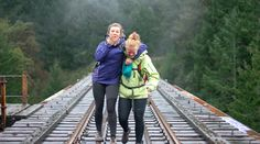 Best Friends - Emma and Emma - Hiking Goldstream Trestle - Victoria BC Get Outside, Railroad Tracks, The Outsiders, Best Friends, Hiking, Victoria, Walks, Bestfriends, Best Freinds