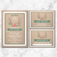 Hunter Baby Shower Invitation | Hunting Baby Shower Invitation | Wilderness | Antler Baby Shower | Hunting | Deer | Elk | Buck | Camoflage  Baby Shower Invite, includes diaper raffle and book request card to match.  This listing is for a PRINTABLE one-sided Baby Shower invitation for you to print at home or print through a print shop. This invitation comes as 5x7 and the 2 insert cards are 3.5 x 5 Printing services and envelopes available. Ask for a quote!  *Let me know if you want a…