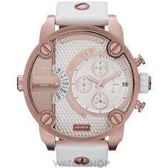 Diesel little daddy white gold dial white leather strap unisex watch - Wristwatches Cool Watches, Watches For Men, Dream Watches, Women's Watches, Wrist Watches, White Leather, White Gold, Diesel Watch, Mens Watches Leather