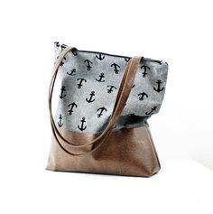 Umhängetaschen - NEU! Graue Anker Handtasche Messenger Bag - ein Designerstück von niemalsmehrohne bei DaWanda