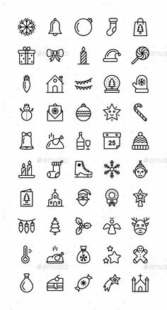 Buy Christmas Icons by mousar on GraphicRiver. Christmas Icons Set of 45 vector Christmas Icons. Cute Easy Drawings, Mini Drawings, Small Drawings, Doodle Drawings, Bullet Journal Christmas, Bullet Journal Writing, Bullet Journal Ideas Pages, Bullet Journal Inspiration, Doodle Art For Beginners