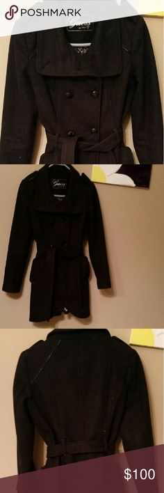 SALE! Guess Pea Coat -Dark Gray The coat is in excellent condition. It has been very well cared for. It has a belt as well. It is 60% wool. Very stylish. It is a winter must have. Guess Jackets & Coats Pea Coats